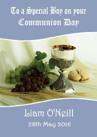 Personalised Blue Chalice Communion Card